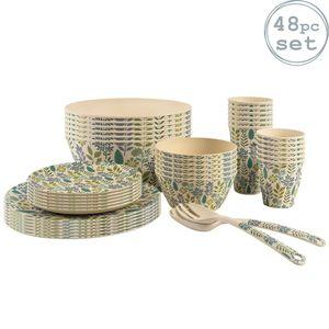 Nicola Spring Umweltfreundliche Bambus Dinner Set - Naturfaser Picknick Geschirr - Platten-Schüsseln Cup Salatbesteck - 6 Person - Leaf