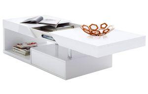 MCA Couchtisch Hope, Wohnzimmertisch, hochglanz weiß ausziehbar mit Stauraum  Weiß
