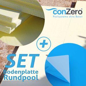 SET> conZero Bodenplatte Rundpool kplt. Hartschaum- u. Vinyl Platte für Ø 3,50m