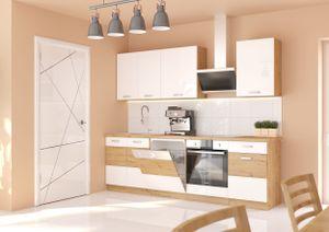 Küche Eiche Artisan Weiß 250 cm Küchenzeile Hochglanz Küchenblock Einbauküche