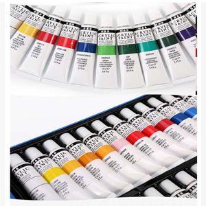 24x 12ml Acrylfarbe Acryl Farben Set Künstlerfarbe Malfarbe Malen Farbe deckend Künstler
