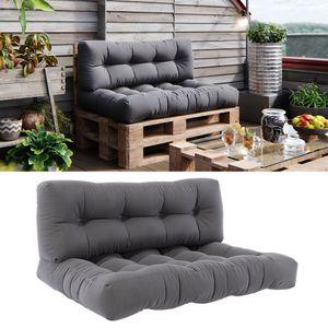 Vicco Palettenkissen Set Sitzkissen + Rückenkissen 15cm hoch Palettenmöbel Flocke grau