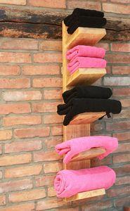 Holz Handtuchhalter Handtuchregal (Natur (hängend mit 5 Ablagen))