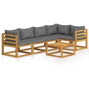 Balkonmöbel Set für 6 Personen, 6-TLG. Garten-Lounge-Set/Sitzgruppe/Gartengarnitur mit Auflagen Massivholz Akazie☆8295