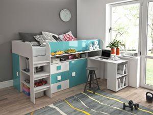 """Hochbett """"Toledo 1"""" Kinderbett 90x200cm Schreibtisch Hochglanz Farbe wählbar"""