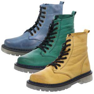 Gemini Damen Schnürstiefelette Leder Stiefel 382106-02, Größe:40 EU, Farbe:Grün