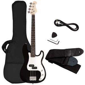 COSTWAY Bassgitarre mit 4 Saiten, E-Gitarre, Elektrogitarre, E-Bass, E-Bass-Gitarre mit Gitarrentasche, Gurt, Plektrum, Verstaerkerkabel, 2 Tonabnehmer und Klangregler, ideal fuer Anfaenger Schwarz