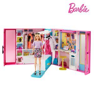 Barbie Traum Kleiderschrank ausklappbar mit Puppe, Zubehör und Puppen-Kleidung