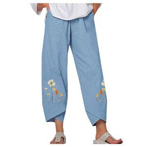 Damen Lady Casual Flowers bedrucken Hosen mit elastischer Taille und weitem Bein Größe:L,Farbe:Hellblau