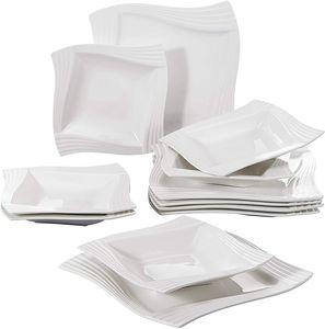 MALACASA, Serie Amparo, Cremeweiß Porzellan Tafelservice 12 Tlg. Set Speiseteller und Suppenteller Geschirrset für 6 Personen