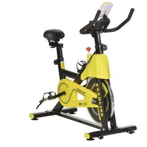 HOMCOM Fahrradtrainer höhenverstellbarer Heimtrainer Fitnessfahrrad Rollentrainer mit Riemenantrieb LCD-Display Stahl ABS Gelb+Schwarz 50 x 100 x 101-113 cm