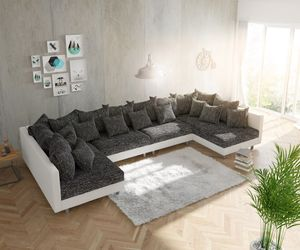 Couch Clovis XL Weiss Schwarz Wohnlandschaft Modulsofa