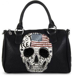 styleBREAKER Bowling Bag mit USA Design Totenkopf und schwarzem Strass, Handtasche, Damen 02012051, Farbe:Schwarz