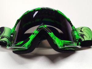 Motocross Brille hellgrün Motorradbrille Endurobrille Schutzbrille Racingbrille Crossbrille Linsenfarbe blau/Violett