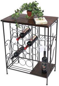 DanDiBo Weinregal mit Holzablage 12977 Flaschenregal mit Glashalter 83 cm Braun Metall Holz Flaschenhalter Weinschrank Regal Stehend