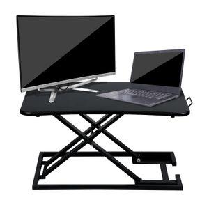 EINFEBEN Sitz-Steh-Schreibtischaufsatz 70 x 47 cm Sit-Stand Workstation Desktop Steharbeitsplatz h?henverstellbar 6-39.5cm,Belastbar bis 10 kg (Schwarz)