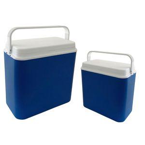 2er Kühlboxen Thermobox Picknick Camping Outdoor 10 + 24 Liter blau/weiß tragbar