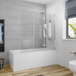 Meykoers Duschabtrennung 130x140cm Duschwand für Badewanne, Dreifalten Duschwand Badewannenaufsatz 6mm Nanobeschichtung ESG Klares Sicherheitsglas