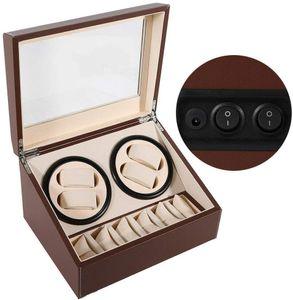 4+6 Uhrenbeweger Automatisch Rotation Beweger Uhrenbox Aufbewahrungsbox Kunstleder für Automatikuhren Mechanischen Uhren