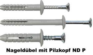 Nageldübel mit Pilzkopf ND P, Größe:ø6 x 40 P / VE 100 St.