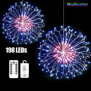 ※198 LEDs Feuerwerk Lichterkette 8 Lichtmodi Löwenzahn Lichter Wasserdicht Außen Garten Weihnachten Deko, Bunt