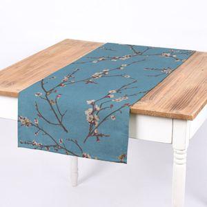 SCHÖNER LEBEN. Tischläufer Kirschblüten blau braun weiß 40x160cm