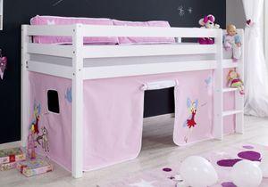 Hochbett ALEX Kinderbett Spielbett Bett Weiß Stoffset Prinzessin, Matratze:ohne