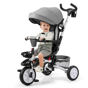 COSTWAY 6-in-1 Kinderdreirad mit verstellbarem & abnehmbarem Dach, Sicherheitsgurt, Kinder Dreirad mit Schubstange, Klapppedal und Aufbewahrungstasche für Kinder im Alter von 12-50 Monaten Grau