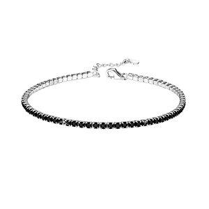 Tennis Armband Damen: schwarze Zirkonia Armkette aus 925 Silber