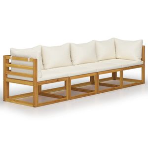 vidaXL 4-Sitzer-Gartensofa mit Auflagen Creme Akazie Massivholz