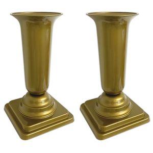 2er Set Grabvase Gold Grabschmuck Kunststoff Friedhofsvase mit Sockel Friedhof Blumenvase Grabdekoration Grab Vase Grabsteckvase