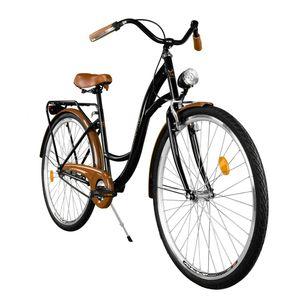 Milord Komfort Fahrrad Damenfahrrad Retro, 26 Zoll, Schwarz-Braun, 1 Gang