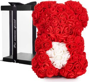 BRUBAKER Rosenbär Blumenbär 25 cm - Blumen Geschenk zum Valentinstag Jahrestag Geburtstag Hochzeit - Geschenkbox inklusive - Rot mit Herz Weiß