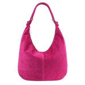 Italy Damen XXL Ledertasche Wildleder Shopper Tasche Schultertasche Umhängetasche Hobo-Bag Beuteltasche Pink