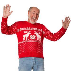 dressforfun Weihnachtspullover Schneegestöber rot-weiß - L