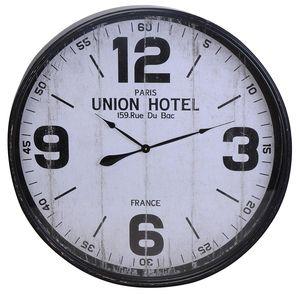 Große Wanduhr Ø 90cm Metall PARIS UNION HOTEL Shabby Chic Wand Uhr Große Ziffern