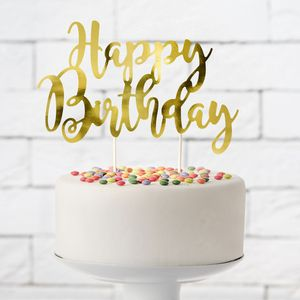 PartyDeco - Cake Topper 'Happy Birtday '- Gold