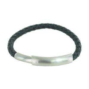 Esprit Herren Armband Leder Edelstahl Silber schwarz ESBR10327C185
