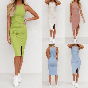 Einfarbiges Kleid Mit Schmalem Gewinde Für Damen,Farbe: Grün,Größe:M