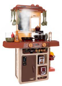 Kinderküche Spielküche Zubehör Funktion Wasserhahn Kaltdampf 42 Elemente 9569, Farbe:Braun-brown