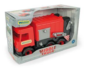 MIDDLE TRUCK Müllwagen rot-schwarz im Schaukarton