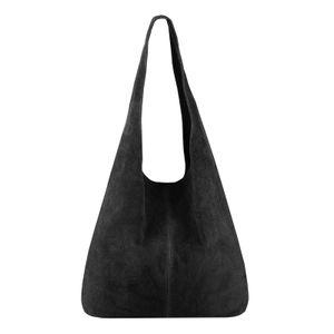 ITALY DAMEN LEDER TASCHE Handtasche Wildleder Shopper Schultertasche Hobo-Bag Henkeltasche Beuteltasche Velourleder Schwarz