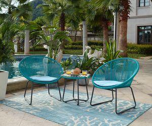 Möbilia Garten Sitzgruppe 5-tlg aus Polyrattan | 2 Stühle inkl. Sitzkissen | Beistelltisch B 51 x T 51 x H 50 cm | türkis-hellblau | 10020006 | Serie GARTEN