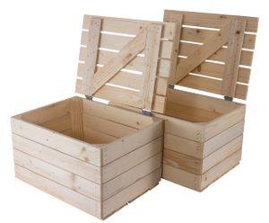2x Holztruhe mit Deckel   48x36x28cm   Geschenkkiste für die Hochzeit   natur für kreatives Gestalten