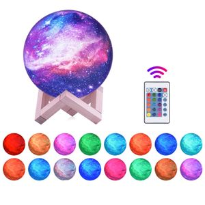 15 cm 3D Druck Sterne Mond Lampe USB Led Mond Geformte Tisch Nachtlicht mit Basis 16 Farben aendern Touch und Fernbedienung Stern Licht Decor Geschenke