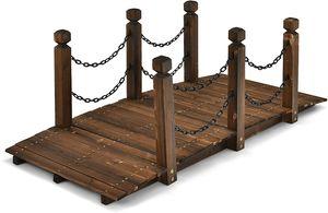 GOPLUS Massive Holzbrücke, Teichbrücke mit Geländer & Ketten, Gartenbrücke, Bogendesign, bis zu 180 kg, 150 x 67cm x 55cm, Korrosionsschutz, für Gartendekoration Teichübergang