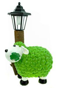 Schaf Molly mit LED Solarlaterne 36 cm grün Figur Skulptur Tier Bauernhof Solar Laterne
