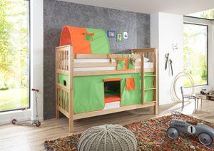 RELITA Etagenbett Kick Buche massiv natur lackiert mit Textilset best. aus Vorhang, 1-er Tunnel und Tasche, Farbe grün/orange