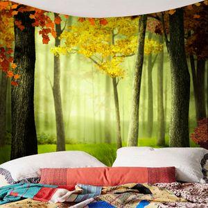 Wandteppiche des wasserdichten Wandteppichs 3d für Innengebrauch im Freien c 秋色 树木 系列 晨光 3D 防水 挂毯 150 * 130cm wie beschrieben