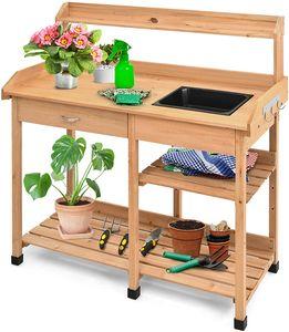 GOPLUS Gärtnertisch aus Massivholz, Pflanztisch mit Mehreren Ablagen, Gartentisch mit Haken, mit/ohne Wanne, Lackierte Oberfläche, für Garten Balkon (Muster 1, mit Wanne)